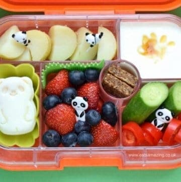 Simple panda themed bento lunch for kids in the Yumbox UK bento box - Eats Amazing UK