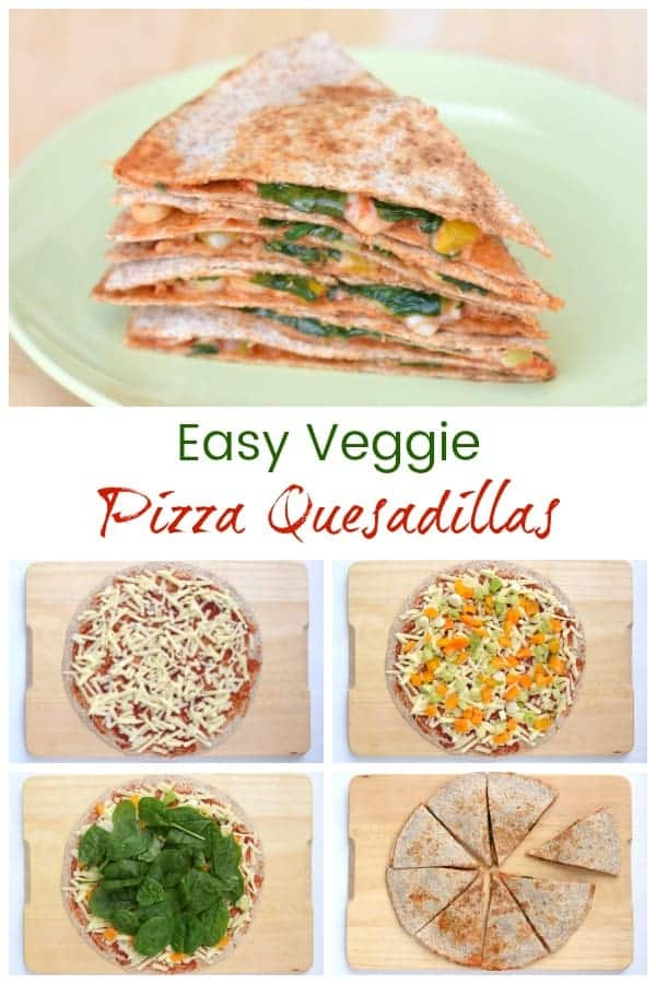 Super easy vegetarian pizza quesadilla recipe - a quick and healthy lunch idea that is ready in just 5 minutes! #quesadilla #tortilla  #vegetarian #vegetarianrecipes #vegetarianfood #pizza #easyrecipe #lunchtime #lunchboxideas