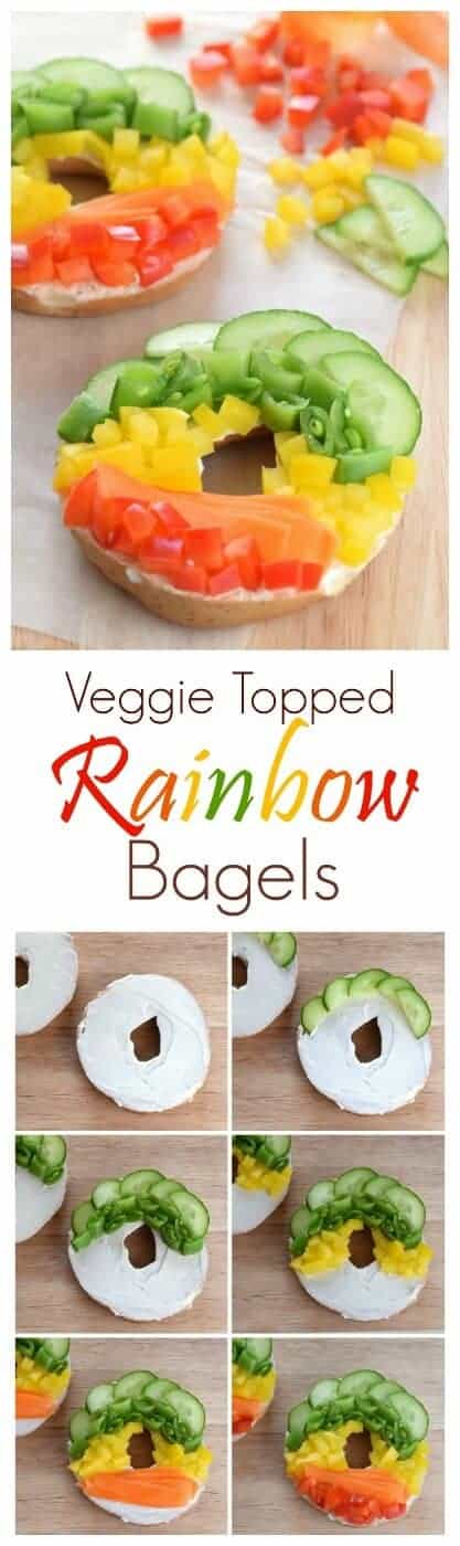 Beautiful healthy rainbow bagels without the food colouring from Eats Amazing UK - healthy fun food for kids and adults too