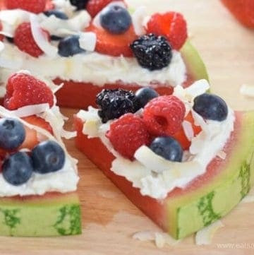 Berry coconut yogurt watermelon pizza - fun and easy healthy summer recipe for kids from Eats Amazing UK