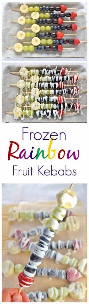Easy to make frozen rainbow fruit kebabs recipe - fun and healthy summer snack for kids from Eats Amazing UK - these make a great popsicle alternative #rainbowfood #kebab #fruit #fruitsalad #kidsfood #funfood #healthykids #healthysnacks #summerfood #popsicle #rainbow  #easyrecipe #frozen