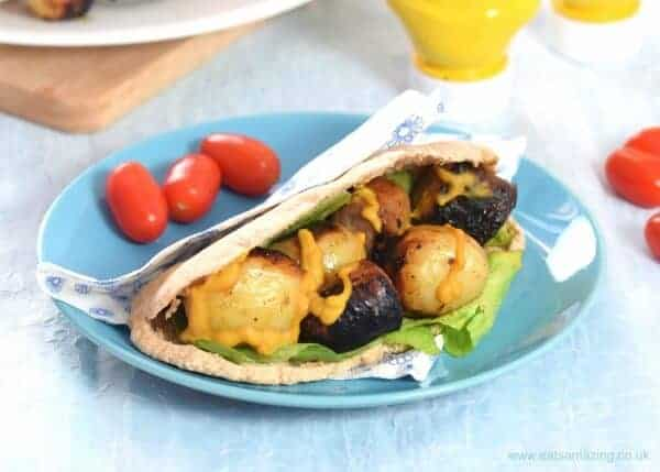 Honey Mustard Sausage and Potato Skewers - a great prep ahead BBQ recipe for summer parties or a quick family meal idea - Eats Amazing UK