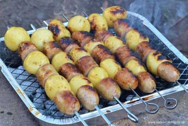 How to make Honey Mustard Sausage and Potato Skewers - a great prep ahead BBQ recipe for summer parties or a quick family meal idea - Eats Amazing UK