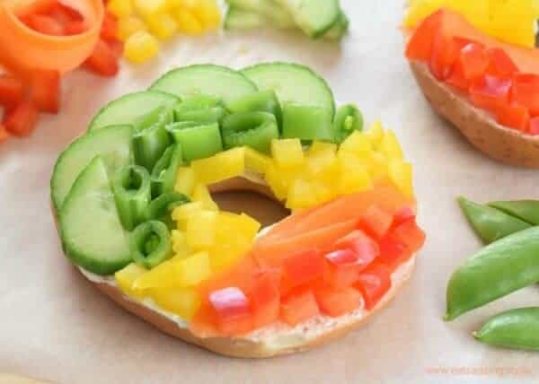 How to make a healthy rainbow bagel with no food dyes - gorgeous bagel topping idea from Eats Amazing