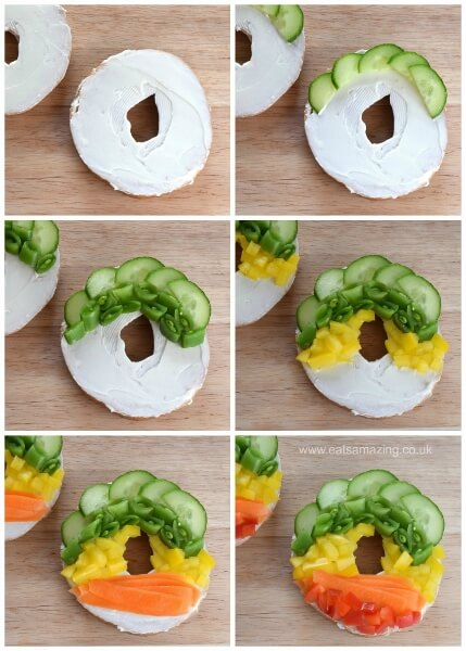 How to make a veggie topped rainbow bagel - fun healthy bagel topping idea for kids from Eats Amazing UK
