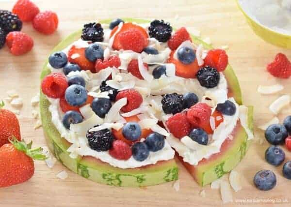 How to make a watermelon pizza - fun and easy healthy summer recipe for kids from Eats Amazing UK