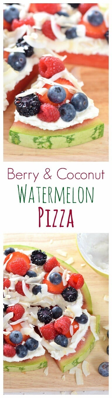 Really easy coconut watermelon fruit pizza recipe - a gorgeous healthy dessert recipe for summer parties and barbeques from Eats Amazing UK
