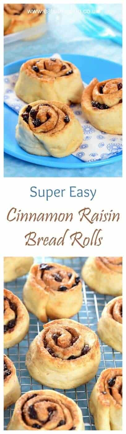 Super Quick and Easy Cheats Cinnamon Raisin Bread Rolls Recipe - perfect for kids lunch boxes - Eats Amazing UK