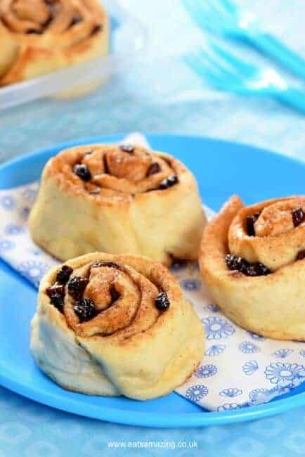 Super Quick and Easy Cheats Cinnamon Raisin Bread Rolls Recipe that are perfect for kids lunch boxes - Eats Amazing UK