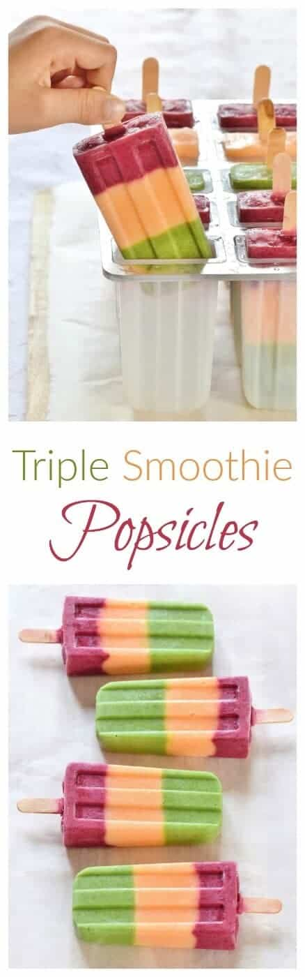Triple Smoothie Popsicles with hidden vegetables - kids will love making these fun traffic light ice lollies - easy summer recipe from Eats Amazing UK