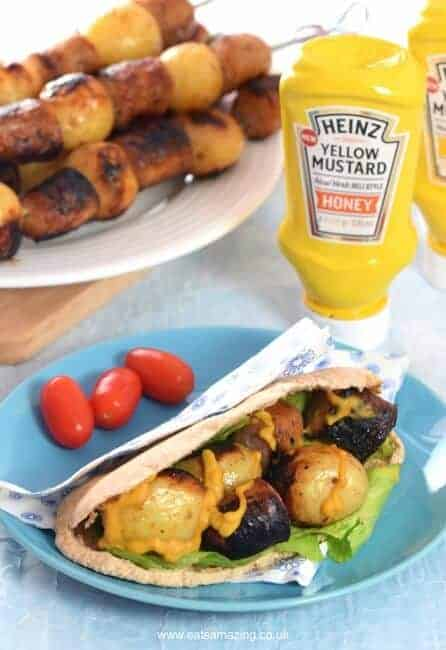 Yummy Honey Mustard Sausage and Potato Skewers - a great prep ahead BBQ recipe for summer parties or a quick family meal idea - Eats Amazing UK