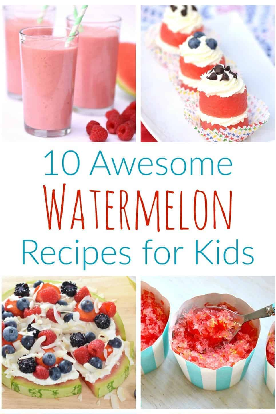 10 Fun Watermelon Recipes for kids - cute and healthy snack and summer dessert ideas that are perfect for party food and BBQs too #watermelon #summerfood #kidsfood #healthykids #partyfood #healthysnacks #snacks #barbeque #summerparty #summer #summerfun #fruit #melon #familyfood