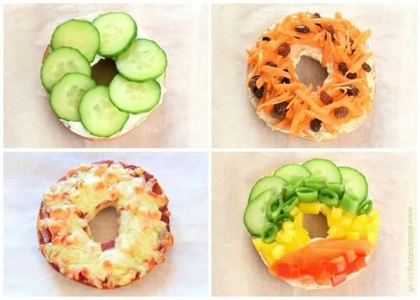 8 fun and easy healthy bagel toppings ideas for kids - breakfast and lunch ideas from Eats Amazing UK