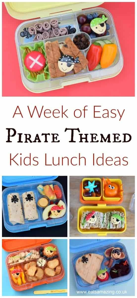 A week of fun pirate themed lunches for kids - healthy and easy packed lunch ideas from Eats Amazing UK