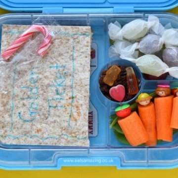 Charlie and the Chocolate Factory themed lunch for Roald Dahl Day - packed in the Yumbox panino bento box - Eats Amazing UK
