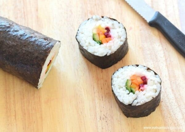 Easy homemade rainbow sushi recipe - simple vegetarian sushi idea - perfect for lunch boxes - Eats Amazing UK