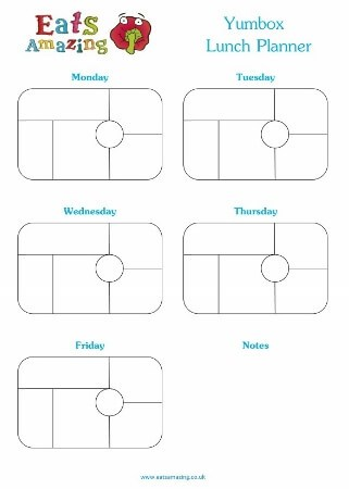 Free Printable Yumbox Classic Weekly Lunch Planner Vertical from Eats Amazing UK