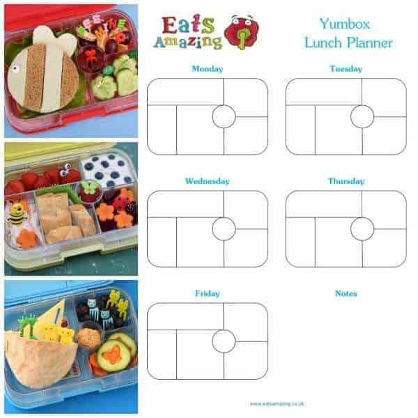 Free Printable Yumbox Classic and Panino Lunch Planner Templates to download and print from Eats Amazing UK