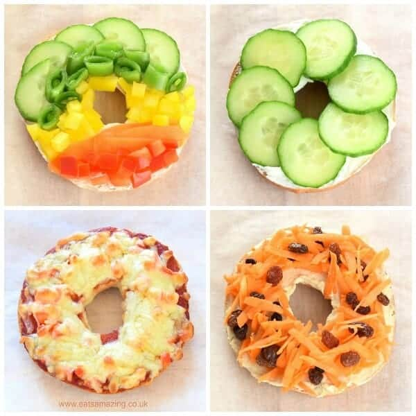 Fun and easy healthy bagel toppings ideas for kids - breakfast and lunch ideas from Eats Amazing UK - savoury toppings