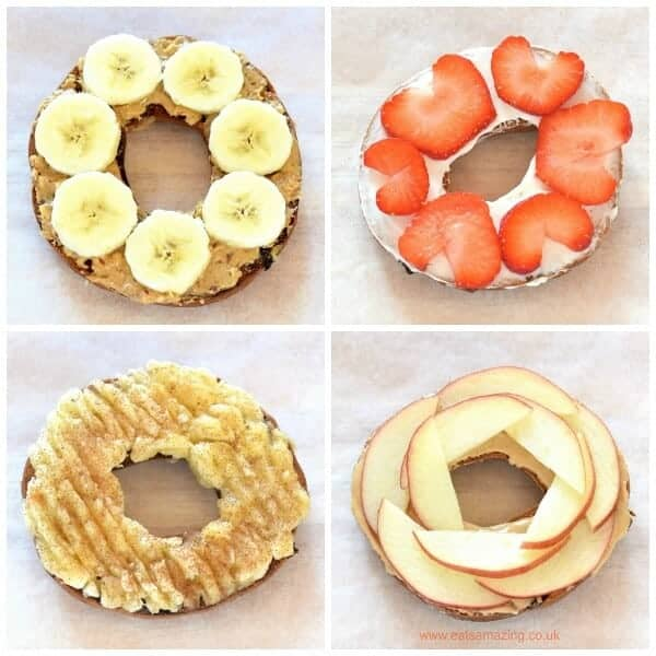 Fun and easy healthy bagel toppings ideas for kids - breakfast and lunch ideas from Eats Amazing UK - sweet toppings