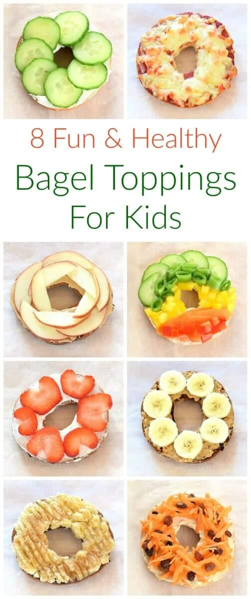 Fun and easy healthy bagel toppings ideas for kids - breakfast and lunch ideas from Eats Amazing UK #lunch #lunchtime #bagel #kidsfood #funfood #breakfast #toppings #healthykids #bagels