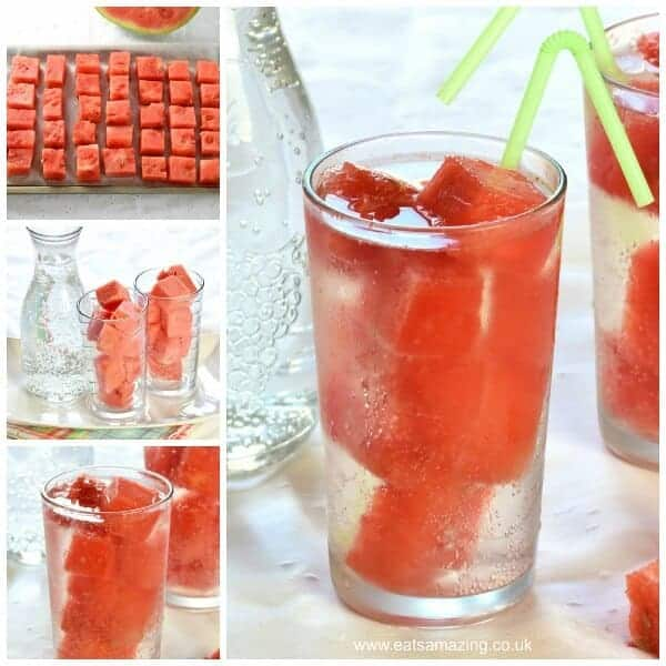How to make Watermelon Ice Cubes - a great way to stay cool this summer - kids will love this fun drink idea - Eats Amazing UK