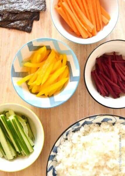 How to make homemade sushi - rainbow vegetable sushi recipe from Eats Amazing UK