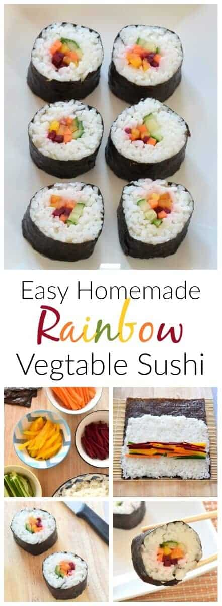 How to make your own rainbow sushi - simple vegetarian sushi idea - perfect for lunch boxes - Eats Amazing UK  #rainbow #rainbowfood #sushi #easyrecipe #vegetarian #kidsfood #lunchboxideas #funfood #healthykids