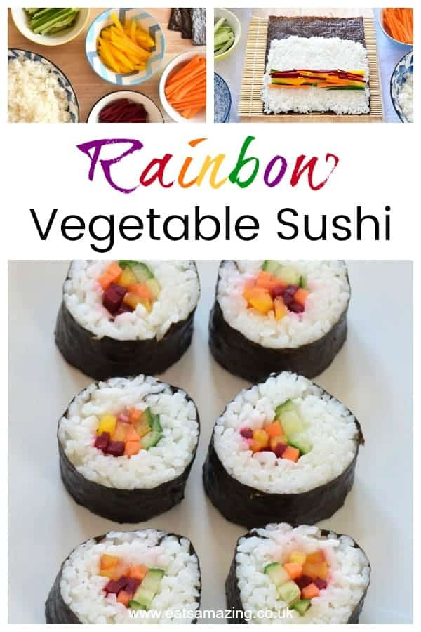 How to make your own rainbow sushi - this easy vegetarian sushi idea is perfect for lunch boxes and party food #rainbow #rainbowfood #sushi #easyrecipe #vegetarian #kidsfood #lunchboxideas #funfood #healthykids