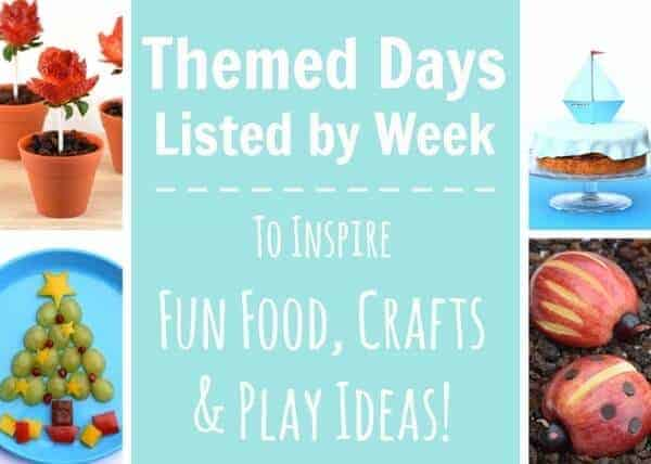 Lists of themed days to inspire fun food bento lunches crafts play ideas and more from Eats Amazing UK - Updated each month with new theme ideas