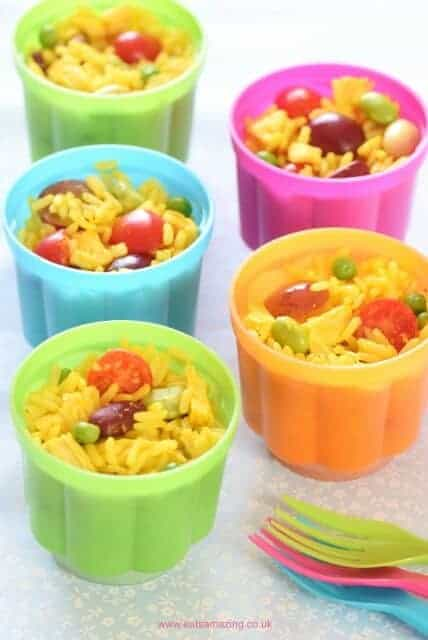 Quick and easy rice salad pots - a great allergy friendly kids packed lunch idea from Eats Amazing UK