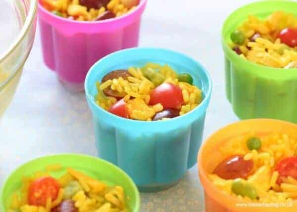 Quick and easy rice salad pots - a great allergy friendly recipe for school lunches from Eats Amazing UK