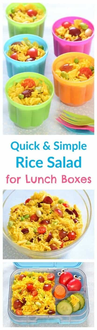 Quick and easy rice salad pots - a great alternative to sandwiches for packed lunches - allergy friendly - gluten free nut free and dairy free #kidsfood #lunch #lunchboxideas #rice #easyrecipe #dairyfree #nutfree #glutenfree #healthykids #allergyfriendly #lunchideas #lunchtime
