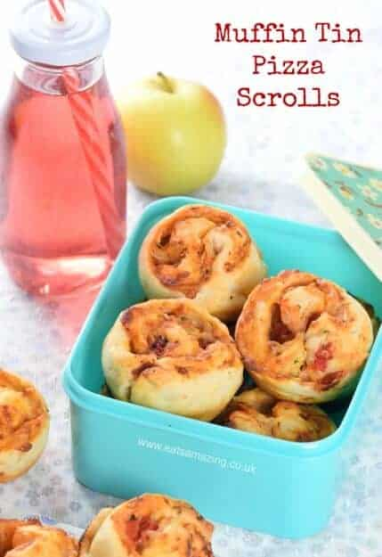 Really easy muffin tin pizza scrolls recipe - a great freeze-ahead recipe for kids lunch boxes - Eats Amazing UK