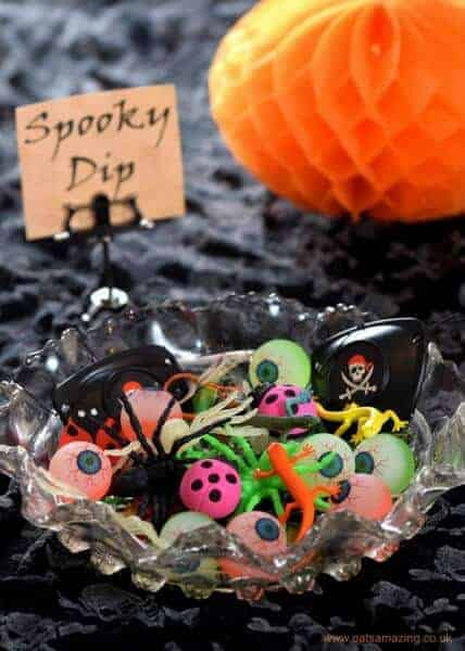 10 Alternative Trick or Treat Ideas for kids without all the sugar - fill a bowl with non-candy gifts for a spooky dip - Eats Amazing UK
