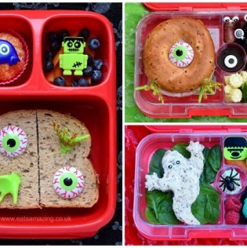 A week of fun and healthy Halloween themed lunch ideas for kids - very easy and totally doable ideas from Eats Amazing