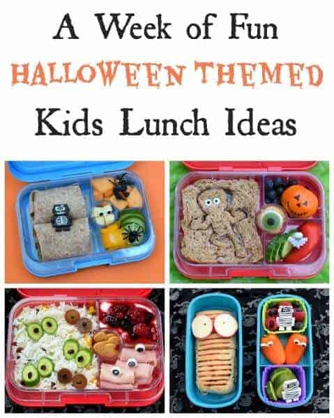 A whole weeks worth of fun and healthy Halloween bento lunch ideas for kids - perfect themed school lunches for October! #EatsAmazing #halloween #halloweenfoods #kidsfood #bento #kidslunch #lunchideas #funfood #foodart #schoollunch #healthykids