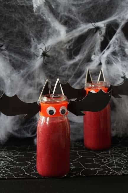 Bat Blood Smoothie - Fun and healthy Halloween drink for kids from My Fussy Eater
