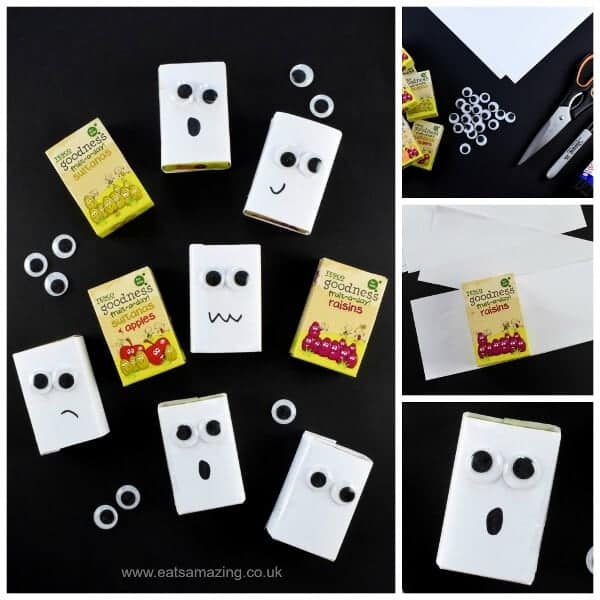 Easy Halloween fun food idea - ghost raisin boxes - perfect for healthy Halloween party food snacks lunch boxes and trick or treaters - Eats Amazing UK