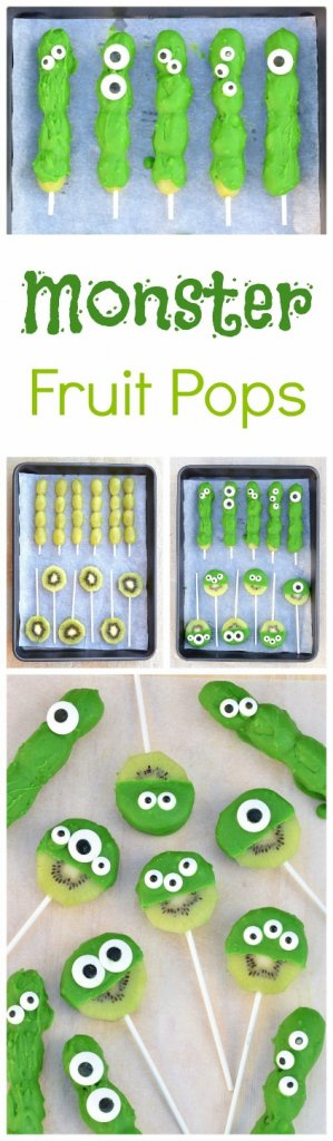 Easy green monster fruit pops - kids will love this fun and easy cute treat idea from Eats Amazing UK