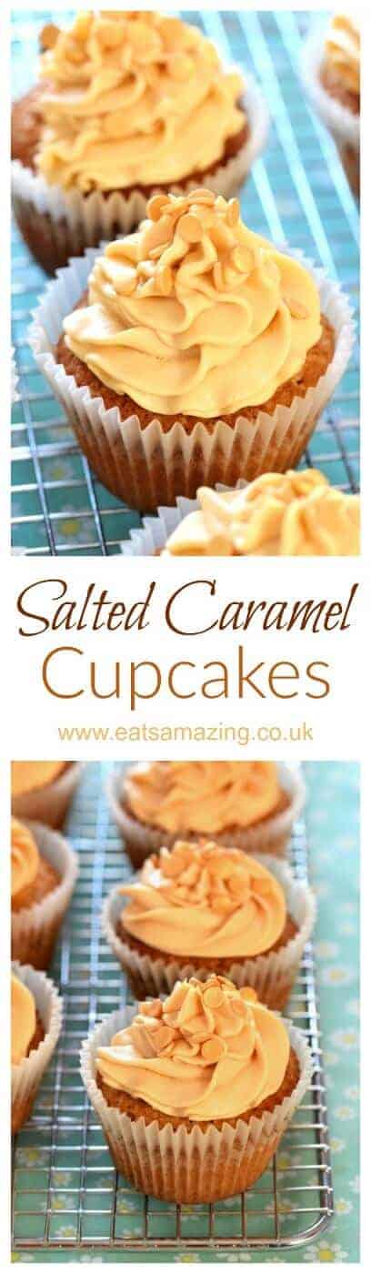 Easy recipe for salted caramel cupcakes with salted caramel buttercream icing - a gorgeous dessert for any party