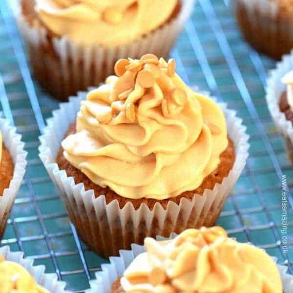 Easy recipe for salted caramel cupcakes with salted caramel buttercream icing - a gorgeous dessert from Eats Amazing UK
