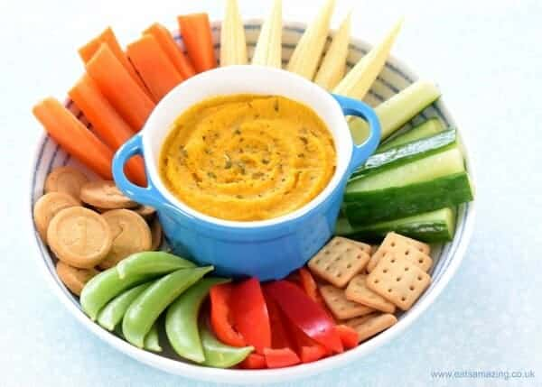 Easy roasted carrot houmous recipe - a healthy dip or spread for kids and toddlers too - healthy toddler food from Eats Amazing UK