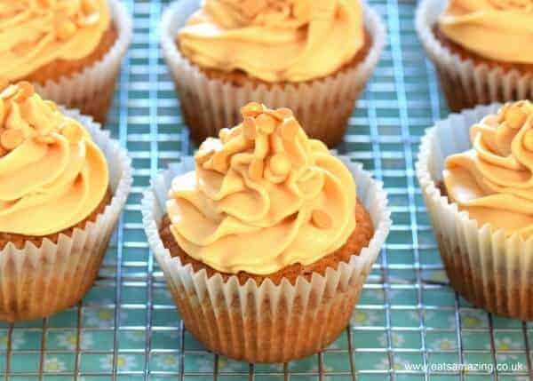 Easy salted caramel cupcakes recipe with homemade salted caramel buttercream icing - a gorgeous dessert for any party - Eats Amazing UK