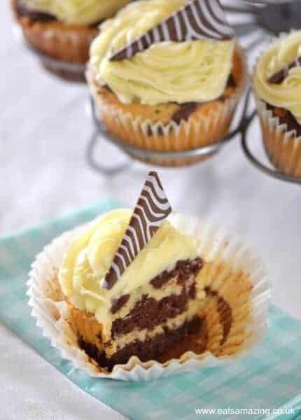 Easy zebra cupcakes - a delicious vanilla and chocolate cupcake recipe with zebra stripes inside and out - Eats Amazing UK