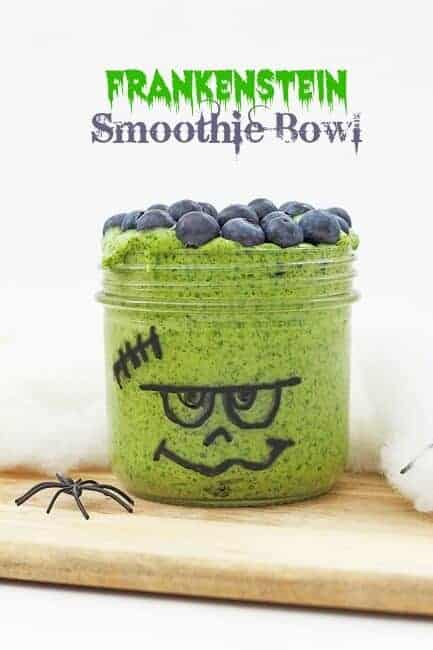 Frankenstein Smoothie Bowl - Fun and healthy Halloween drink for kids from Feeding Finn