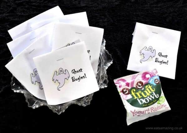Free printable labels for ghost bogies - a funny Halloween twist on yogurt raisins - perfect for trick or treaters - Eats Amazing UK