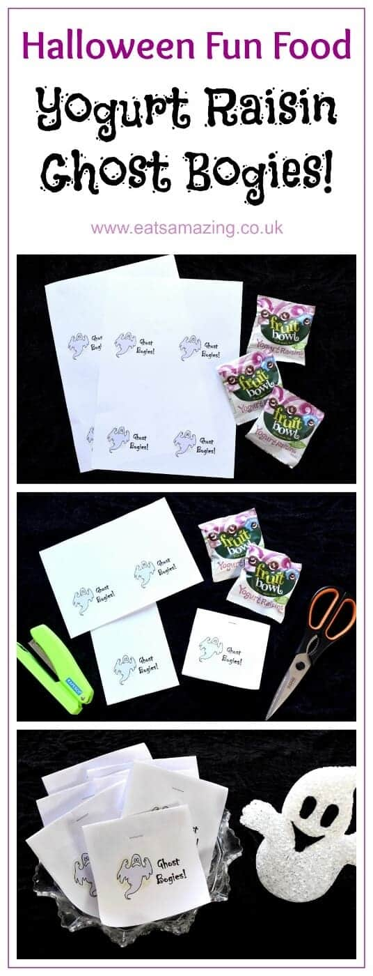 Free printable labels for ghost bogies - fun Halloween twist on yogurt raisins - perfect for trick or treaters - Eats Amazing UK