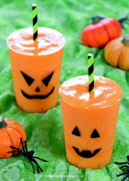 Fun Jack O Lantern Smoothies for Halloween - Kids will love this fun Halloween drink - perfect for a healthy Halloween - Eats Amazing UK
