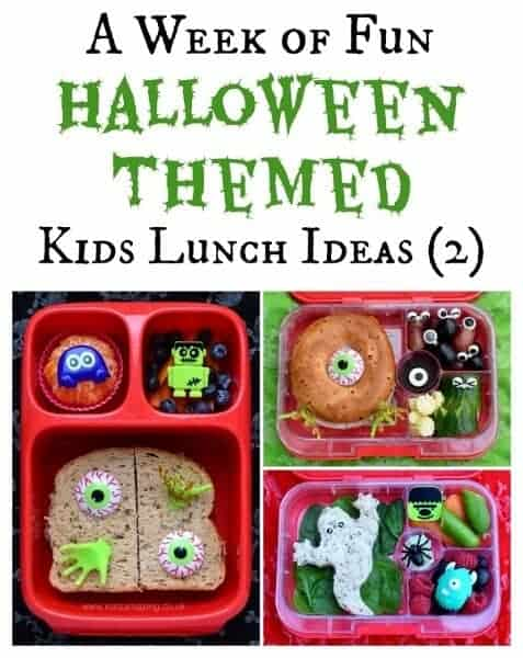 Fun and healthy Halloween themed lunch ideas for kids - a whole weeks worth of very easy and totally doable ideas from Eats Amazing UK - Week 2